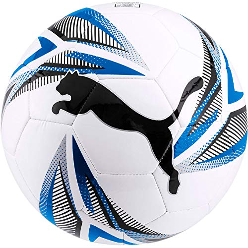 PUMA Unisex-Adult ftblPLAY Big Cat Ball Fußball, White Black-Electric Blue Lemonade Silver, 5