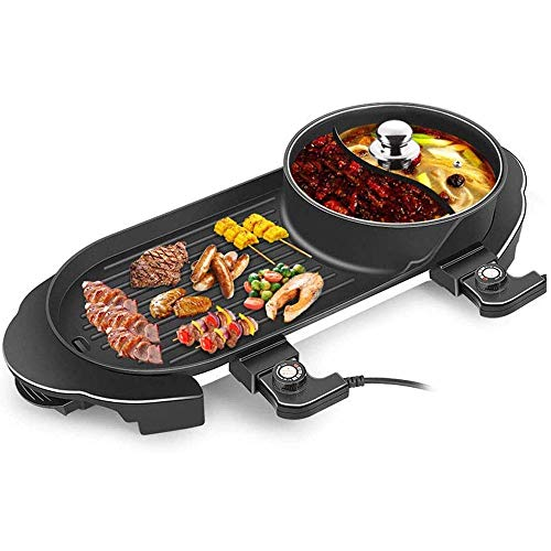 AOIWE Parrilla eléctrica BBQ BBQ Hot BOT 2 en 1, Parrilla sin Humo de multifunción Freír maifanshi para hogar, fácil de Limpiar, Calefacción rápida Cocina, 1350W + 1350W