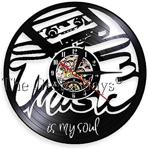 1 stuk vinyl wandklok muziek is mijn ziel kunst handgemaakte decor unieke decoratieve voor muziekfans