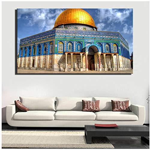 A&D Jerusalem Gebäude Golden Rock Große Moschee Muslim Moderne Landschaft Leinwand Kunst Malerei Poster Wandbilder für Schlafzimmer Dekor-50x100cm Kein Rahmen