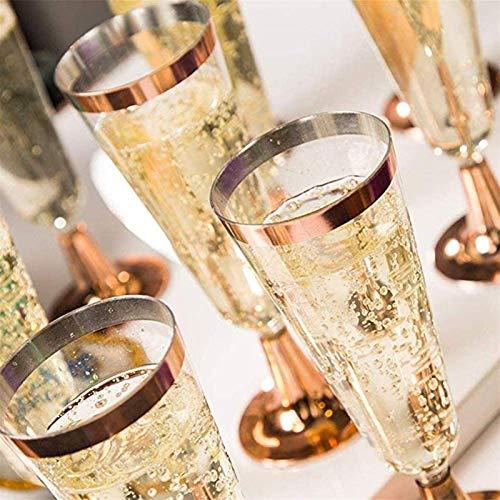 YGLONG Copas De Vino 6 unids 150ml plástico SED Vino Vino Champagne Flautas Gafas cóctel Fiesta Boda Bebida Occidental Cocina Taza Copas De Vino Tinto (Capacity : 150ml, Color : Rose Gold)