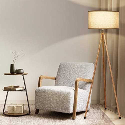 Albrillo klassieke vloerlamp - moderne statief vloerlamp met houtnerf en jute lampenkap, 156 cm hoge E27 vloerlamp, perfecte decoratieve lamp voor woonkamer, slaapkamer, kantoor, beige