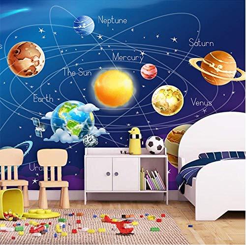 Fototapeten Wandbild Tapete 3D Cartoon Planet Sonnensystem Foto Tapete Kinderzimmer Schlafzimmer Wandmalerei Wohnzimmer Tapete,250X175CM(WxH)