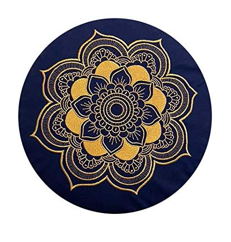 Cojín de meditación, yoga, Celine Madeleine con funda bordada, lavable, relleno con cáscara de espelta orgánica, 33 x 15 cm, adecuado para principiantes y expertos (azul/dorado)