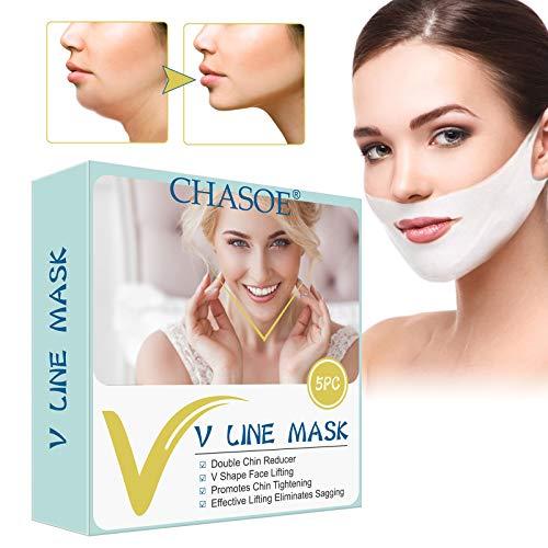 V line Lifting Mask, V-Shaped Slimming Mask, Ácido Hialurónico Cara, Sin Dolor Para Elimina la Flacidez Lifting de Piel Reafirmante Antienvejecimiento, Antiedad y Antiarrugas para la cara Contorno