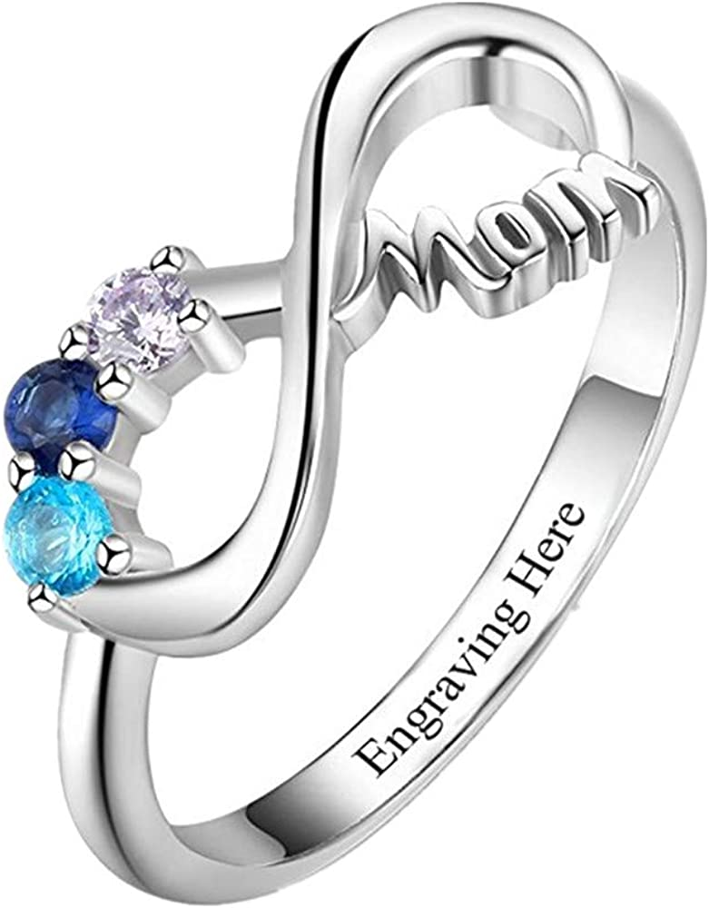 Amabery Customized Infinity Symbol Max 64% OFF Birthstone Personalized Ring Sale SALE% OFF