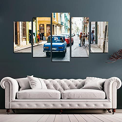 VYQDTNR Cuadro sobre Lienzo - 5 Piezas - Impresión En Lienzo - Coche Azul en Cuba Cuadro de Pintura Póster de Arte Moderno Oficina Sala de Estar o Dormitorio Decoración del Hogar Arte