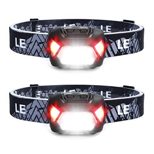 LE Lampe Frontale Rechargeable USB 5 Modes IPX4 Étanche Distance 150 M Continue 30H, Torche Frontale Légère...