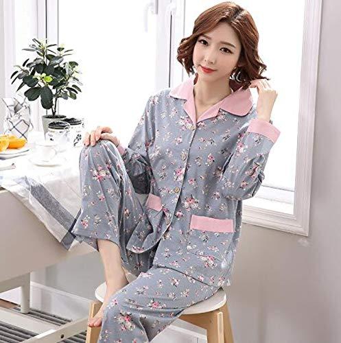 XFLOWR 100% Baumwolle Blumen Langarm Damen Pyjamas Set Turn-Down Kragen Freizeit Plus...