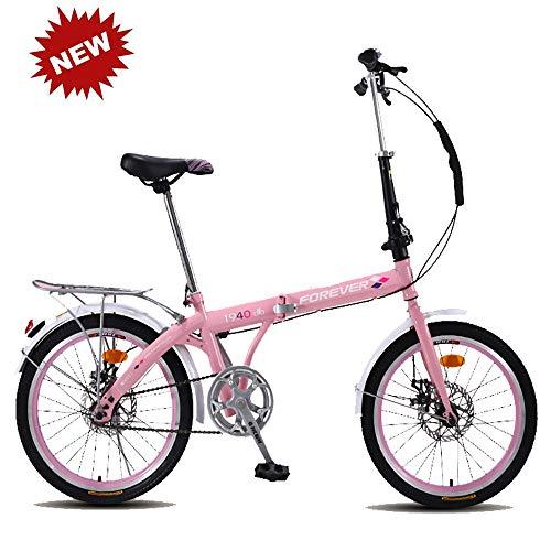 Bicicleta plegable para estudiantes Bicicleta para adultos Bicicleta de montaña Amortiguación Bicicleta Singlespeed Frenos de doble disco Viajeros urbanos Ligero para estudiantes y adultos,Pink