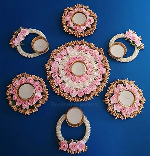 Colgadores decorativos hechos a mano para velas de té | Juego de 7 candelabros Rangoli | Decoraciones Diwali | Decoraciones de piso onam pongal Rangoli | Diwali diyas|Diwali Lights|Diwali Candles
