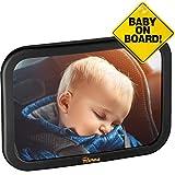 TDP24® Rücksitzspiegel für Babys - Schwarz - bewährte Sicherheit durch großes Sichtfeld - Spiegel Auto Baby