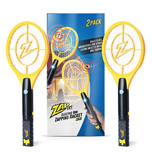 ZAP IT! Bug Zapper Twin-Pack - Rechargeable Mosquito, Fly Killer and Bug Zapper Racket with Blue Light Attractant (Mini, Yellow)