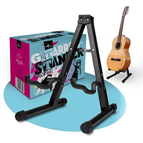 cool-play – Premium Gitarrenständer – Zusammenklappbare Gitarren Halterung [1kg] – Stabiles Gitarrenstativ [schwarz] aus Stahl – Für Akustik/Western/E-Gitarre, Bass – Anti Rutsch Funktion