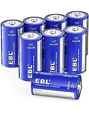 EBL 単二乾電池 単2形アルカリ乾電池 8本パック 家庭用およびビジネス、玩具、リモコン、懐中電燈、キャンプ燈、電子機器、ガスコンロ、給湯器に適用 10年間長期保存可能 / 液漏れ防止/リサイクル可能 C型乾電池 乾電池単2電池 単二電池 アルカリ乾電池
