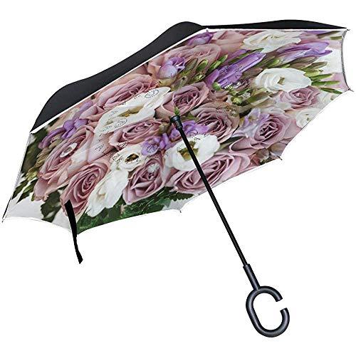 Be-ryl-Car reverse umbrella Paraguas inverso Arreglo a Prueba de Viento Hermosa floración Protección UV Invertida Moda de Doble Capa con Mango en Forma de C