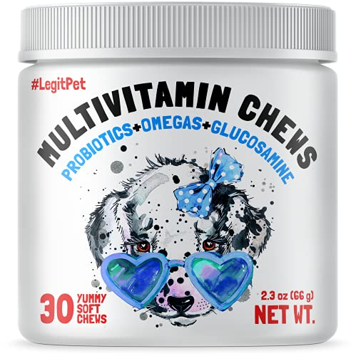 LEGITPET Dog Vitamins - 30 Multivitamins Chews w/Glucosamine Chondroitin, Probiotics Digestive Enzymes and Omegas - Supplement for Overall Health - Joint Support, Immune Health, Skin and Heart Health