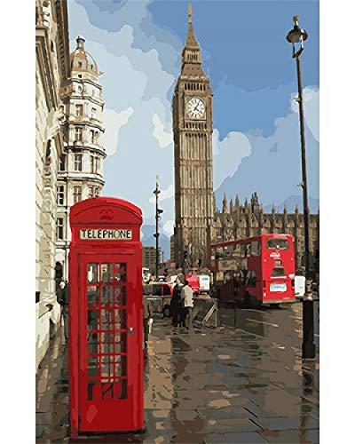 DIY Pintar por Numeros Adultos Niños Pintura por Numeros con Pinceles Lienzo y Pinturas Acrilicas Big Ben, cabina telefónica, autobúsfestival regalodecoración de casa 40 x 50 cm (sin marco)