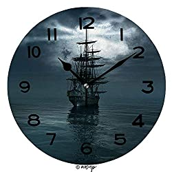 ALUONI Print Round Wall Clock, 10 Inch Jolly Roger in The Sky Over The Sailing Ship Quiet Desk Clock for Home,Office,School SW94158