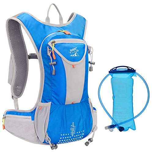 Hydration Pack Backpack with 2L BPA-Free Bladder, Adjustable Padded Shoulder Chest Waist Straps, Perfect Outdoor Gear for Skiing, Running, Hiking, Cycling