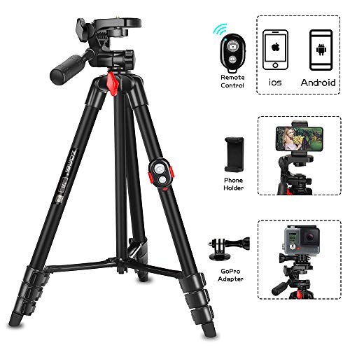 Phone Tripod, ZOMEi 54 Inch Cellpone Tripod Lightweight Portable Travel Tripod with Phone Holder and Bluetooth Remote for Smartphone Gopro and Light Camera