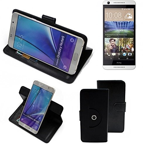 K-S-Trade Case Schutz Hülle Kompatibel Mit HTC Desire 620G Dual SIM Handyhülle Flipcase Smartphone Cover Handy Schutz Tasche Bookstyle Walletcase Schwarz (1x)