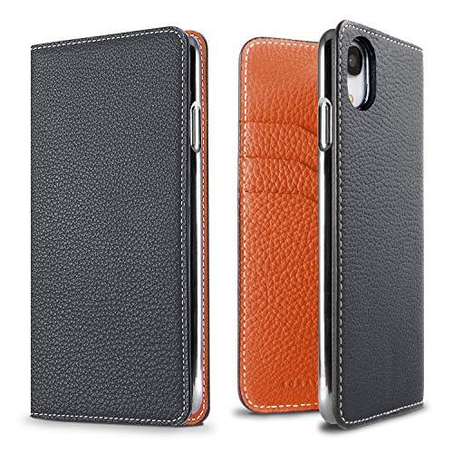 BONAVENTURA Leder Wallet-Hülle [iPhone XR, Navy & Orange] BODTXR-Naor