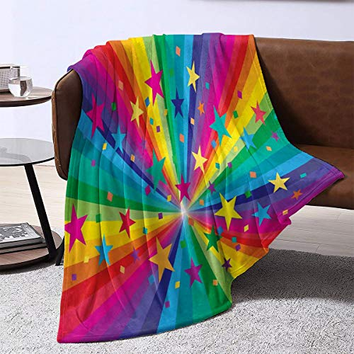 LanQiao Plush Blanket ,Abstract Abstract Rainbow and Stars Confetti Rays Striped Celebrating Happy Times Theme,Gift for Girlfriend60'x36'