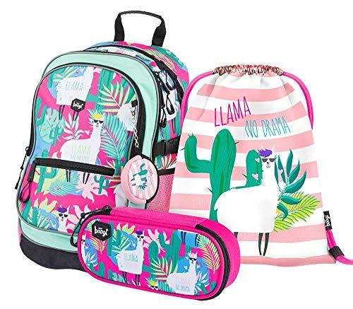 Schulrucksack Set 3 Teilig, Schultasche ab 3. Klasse, Grundschule Ranzen mit Brustgurt, Ergonomischer Schulranzen (Llamas)