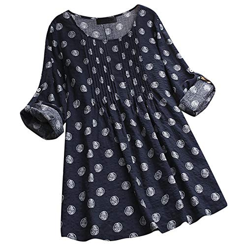 KaloryWee Bluse Tops Shirt Tuniken Damen Frauen T-Shirts Pullover Langarmshirts Mode Langarm Größe Lose Polka Dot Button S-5XL