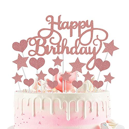Decoración para Tarta de Oro Rosa, Topper Feliz Cumpleaños, Corazones Estrellas Cake Cupcake Topper, para Boda, Aniversario, Fiesta de Cumpleaños, Decoración del Hogar, Etc (22 Piezas)