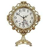 HYCy Reloj de sobremesa Mudo, Mesa de Metal, Relojes de Escritorio, Cocina casera Antigua, Adornos Decorativos para Habitaciones, Regalos de diseño Creativo, con Pilas (Color: Bronce)