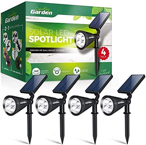 Signature Garden LED Solar Garden Spotlights (4 Pack) Super-Bright, Easy No-Wire Installation with Ground or Wall Mount Option. Auto On/Off. All-Weather/Water-Resistant