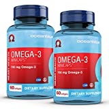 Oceanblue Omega-3 Minicaps – 60 ct, 2-Pack – Small Easy to Swallow Burpless Fish Oil Supplement with an Ideal Daily Dose of EPA and DHA – Wild-Caught – Vanilla Flavor (60 Servings)