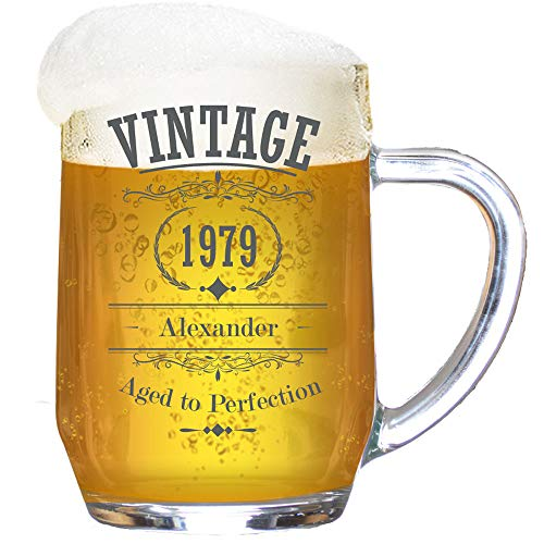 Personalised Birthday Tankard Glass Stein Engraved for Men/Vintage Legend Year/1 Pint/20 Ounces/Gift Box