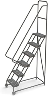 Tri-Arc KD106166 6-Step Tilt and Roll Industrial & Warehouse Steel Ladder with Perforated Tread, 16-Inch Wide Steps
