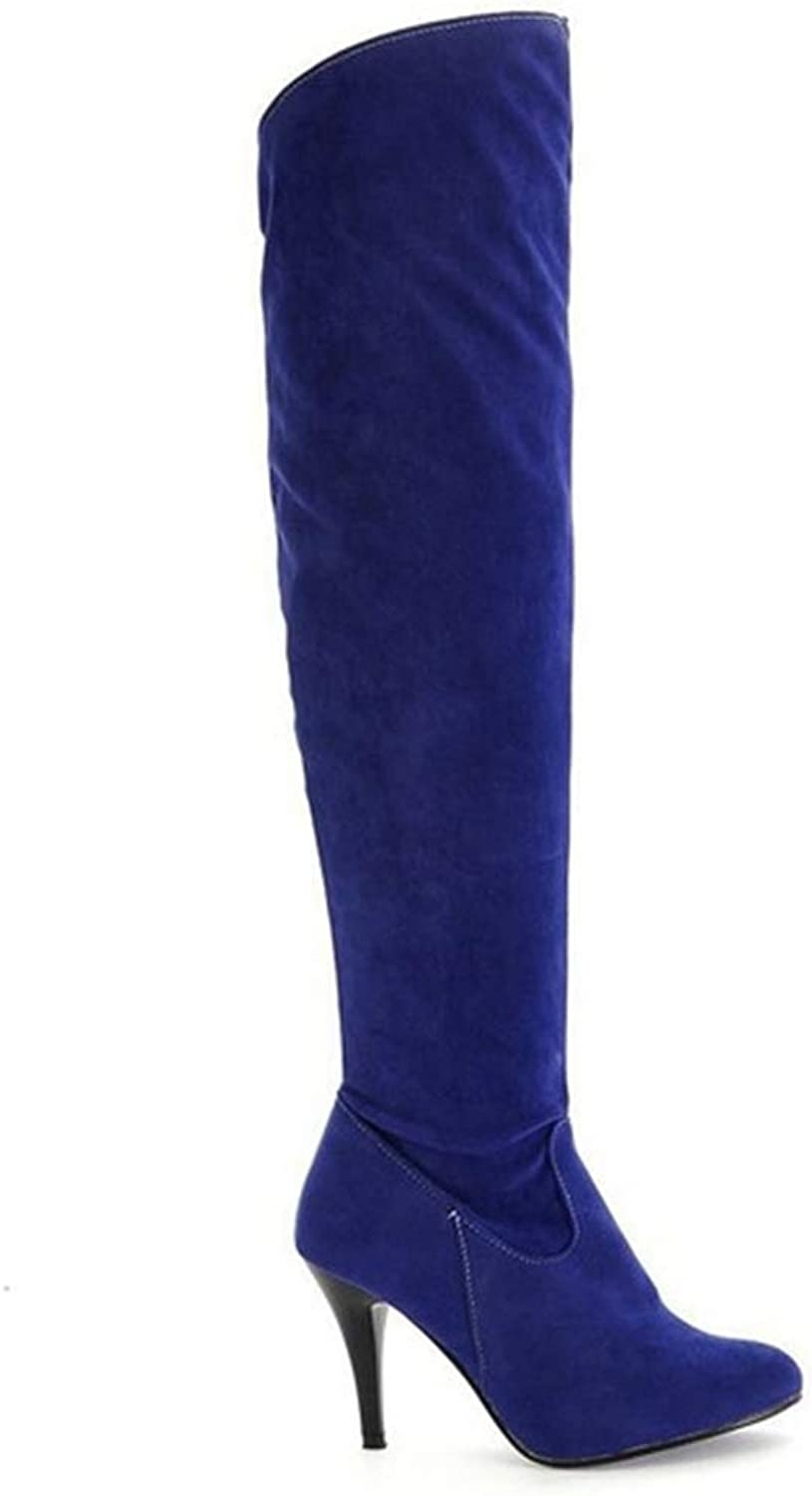 Saborz Thin High Heels Thigh High Boots Ladies Round Toe Autumn Over Knee Boots