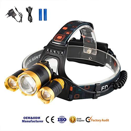 MAS MODO Headlamp Flashlight USB Rechargeable - LED Brightest 6000 lumens Work Headlight,IPX6 Waterproof & 18650 Flashlight with Zoomable Work Light,Head Lights for Camping, Hiking, Outdoors,Fishi …