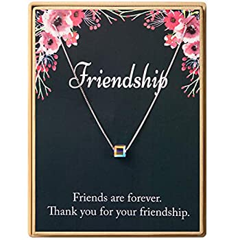 Friendship Gift 925 Sterling Silver Square Crystal Pendant Necklace Gift for Friends Sisters Women Fine Jewelry