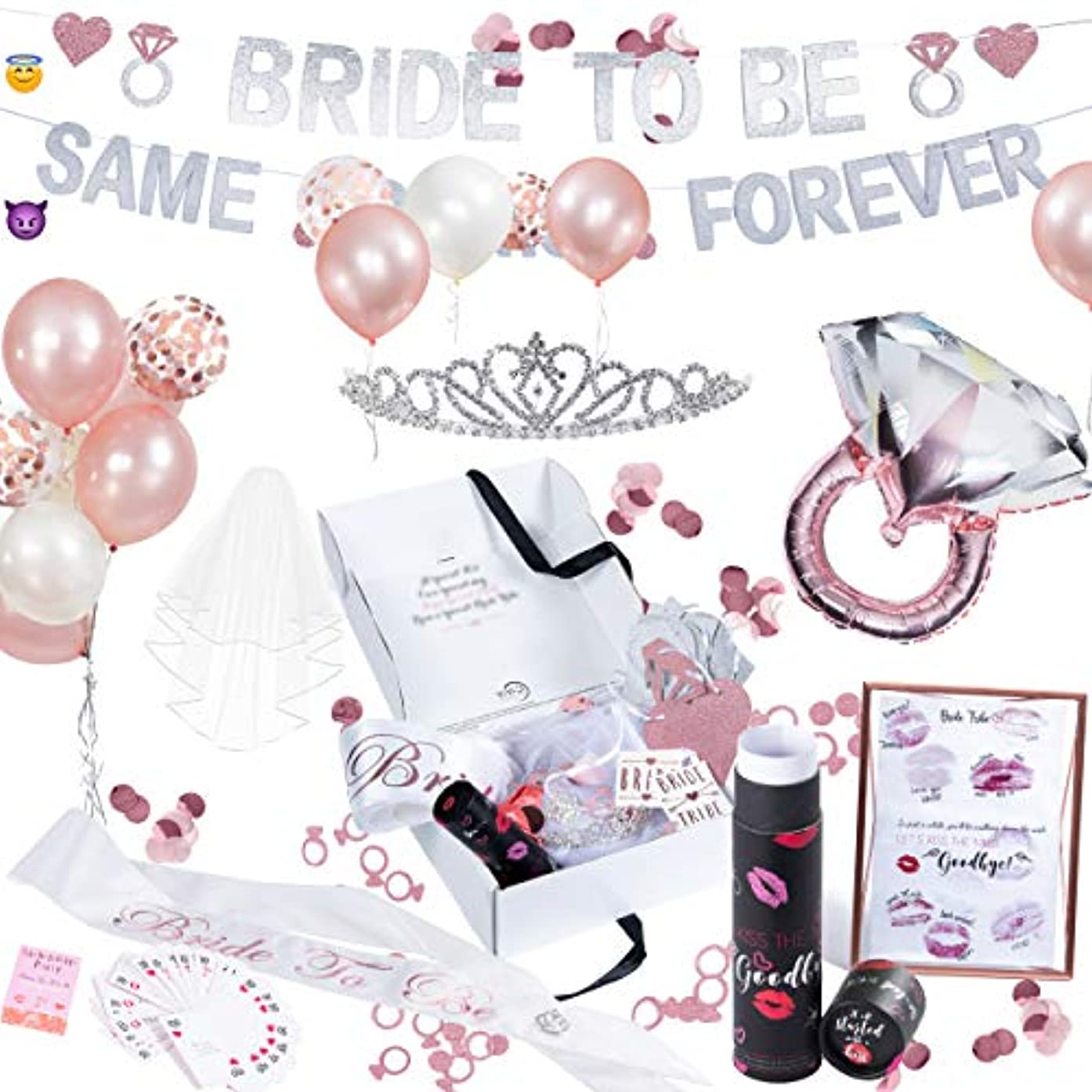 ViViD FunLab Bachelorette Party Decorations Kit | Bridal Shower Supplies | Bride to Be Sash, Veil, Tiara, Bride Tribe Tattoos | Rose Gold & Confetti Balloons, Glitter Banner, Bachelorette Party Games