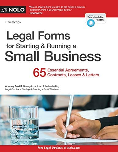 Legal Forms for Starting Running a Small Business 65 Essential Agreements Contracts Leases Letters product image