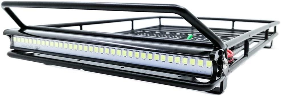 HOMYY RC 1:10 Auto Dachgepäckträger Gepäckträger mit Spotlights Metall Schweißnetz Zubehör Dach für Wrangler Axial Scx10 RC4WD CC01 TF2(mit Strahlern)