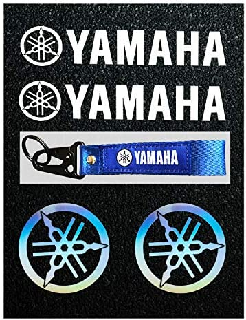 8packs LLAP Motorcycle Decal Stickers/& Keychain for Yamaha Reflective Carbon Fiber Decals Vinyl Decal Weather Proof Sticker