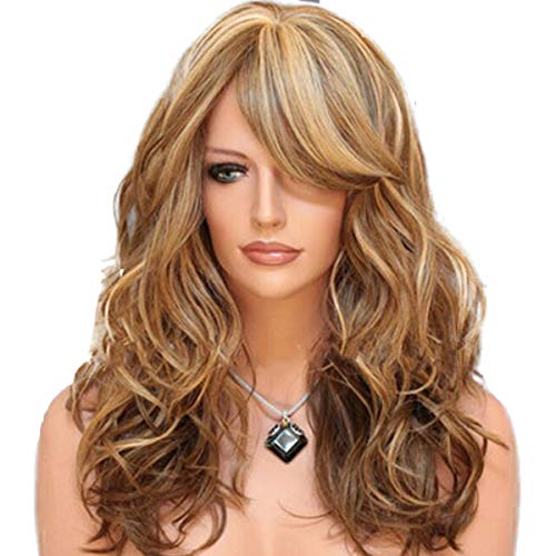 FAMKIT 24 Natural Long Wavy Curly Brown Mixed Blonde Highlights Hitzebeständige synthetische Pony Perücken für Frauen