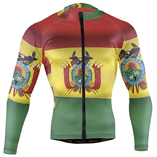Magnesis Camiseta de manga larga para hombre, diseño de bandera de Bolivia
