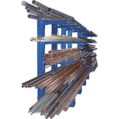 EUROKRAFTpro Kragarmregal, Bauart schwer Ständerhöhe 3000 mm Anbauregal, einseitig, Feldlast 1720 kg, lichtgrau RAL 7035
