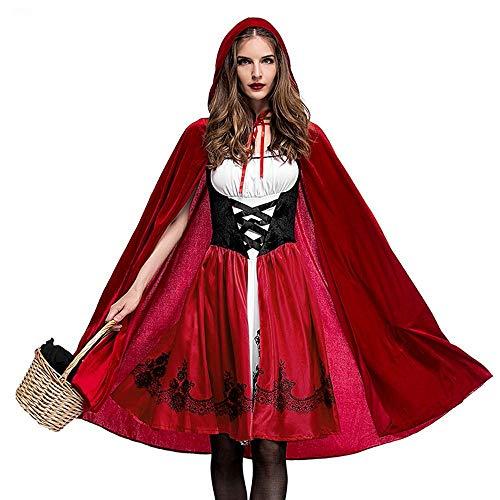 INLLADDY Damen Rotkäppchen Kostüm Kostümparty Kostüm Rollenspiel Kostüm Weihnachtsfeier Kleid Und Umhang Mantel Karneval Rot XXL
