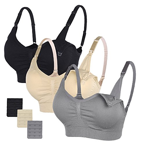 STELLE 3PACK Body Silk Seamless Maternity Nursing Bra with Pads, Extenders & Clips(Gray+Black+Beige,XL)