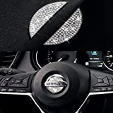 Bling Bling Steering Wheel Logo Caps Compatible with Nissan, DIY Diamond Crystal Emblem Accessories Interior Decorations for Women, Compatible with Nissan Rogue Altima Maxima Sentra Titan Pathfinder