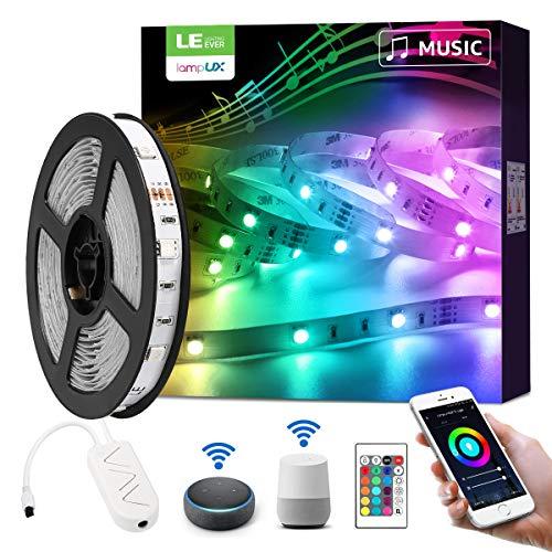 LE Smart LED Strip 5M Musik Sync, RGB LED Streifen Wifi, Wlan LED Band, Superhell 5050 Selbstklebend Lichtband, [nur 2.4GHz]Lichterkette mit Fernbedienung, Kompatibel mit Alexa, App, Google Home